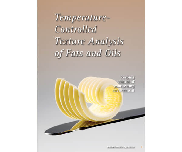 Temperature controlled texture analysis of fats and oils testing article