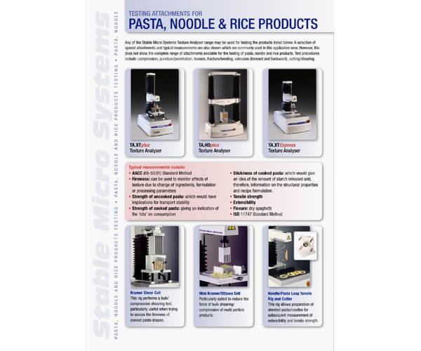 Pasta applications brochure