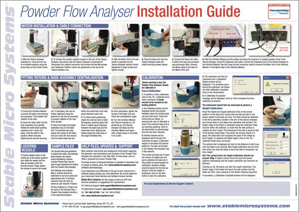 Powder Flow Analyser Installation Guide