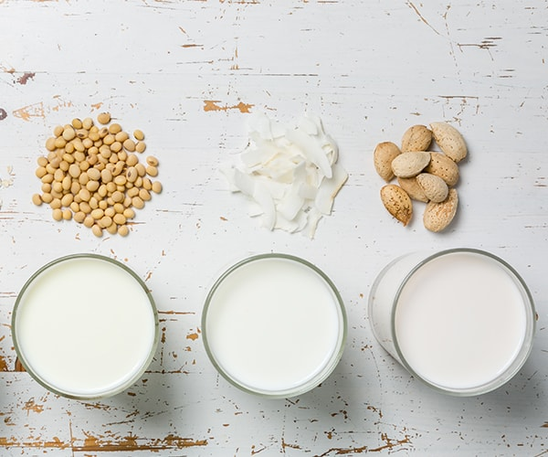 Alternative options to dairy milk - lentil, coconut and almond